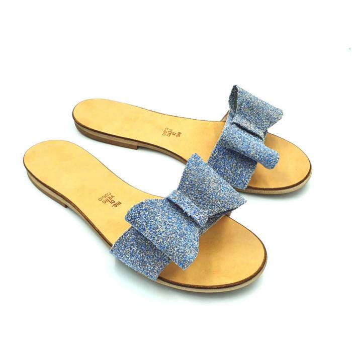 Papuci de dama din piele cu funda dubla Blue Glitter 0