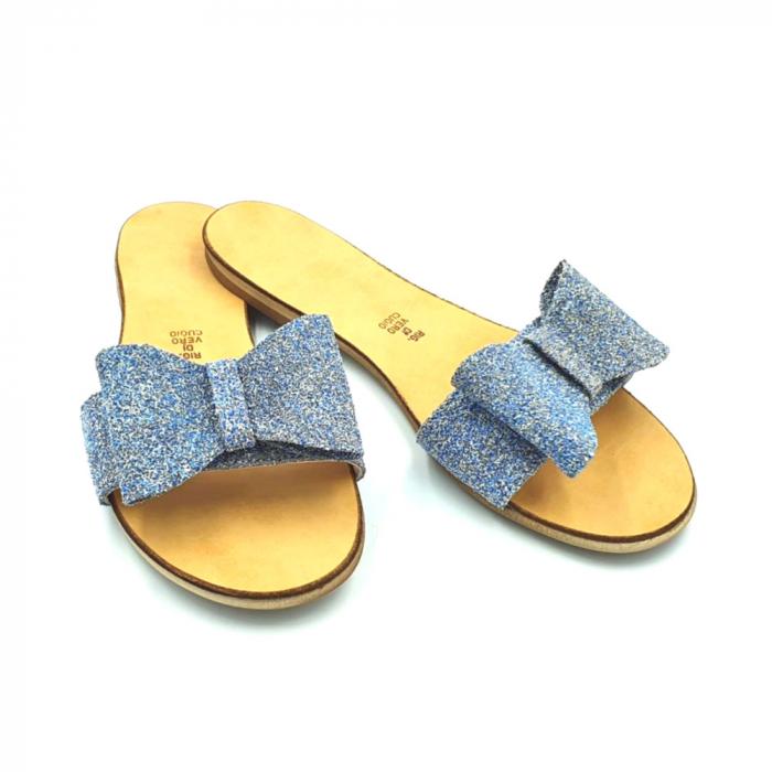 Papuci de dama din piele cu funda dubla Blue Glitter 2