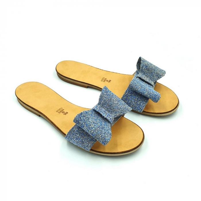 Papuci de dama din piele cu funda dubla Blue Glitter 3