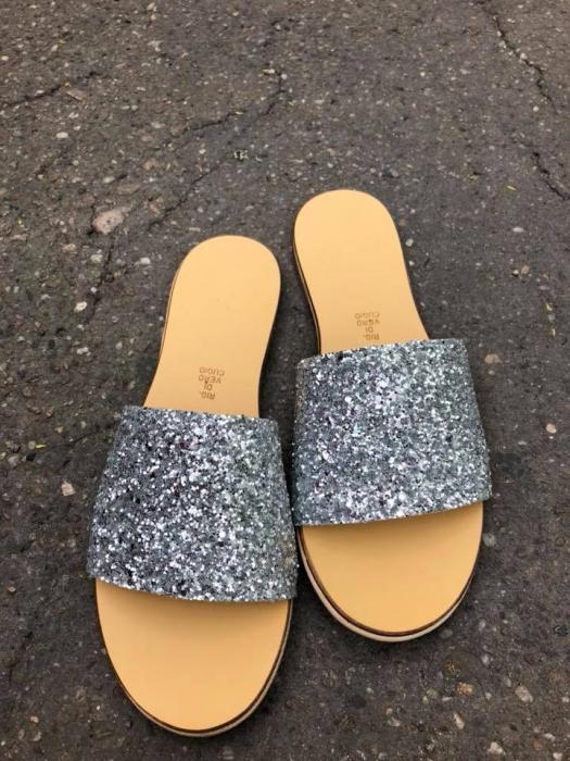 Papuci de dama din piele Elisa Glitter 0