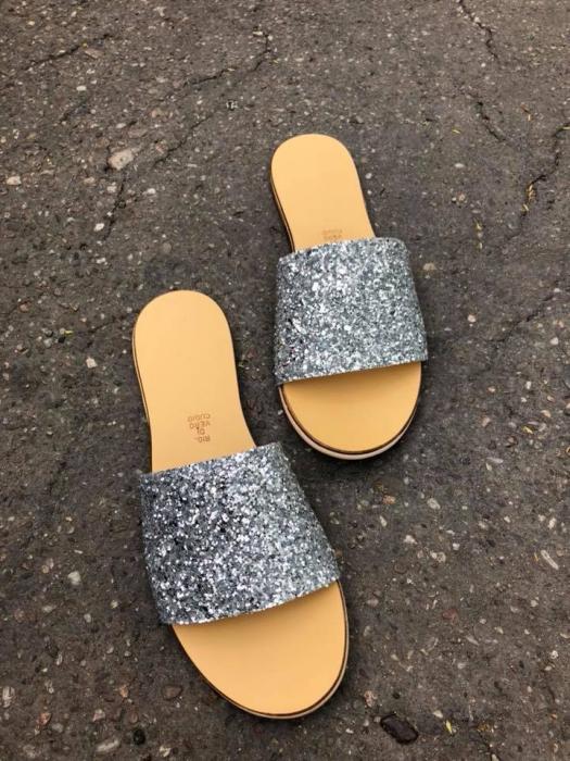 Papuci de dama din piele Elisa Glitter 2