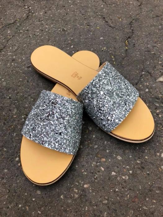 Papuci de dama din piele Elisa Glitter 1