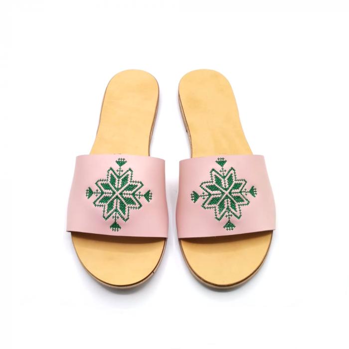 Papuci din piele nude cu broderie traditionala verde [1]