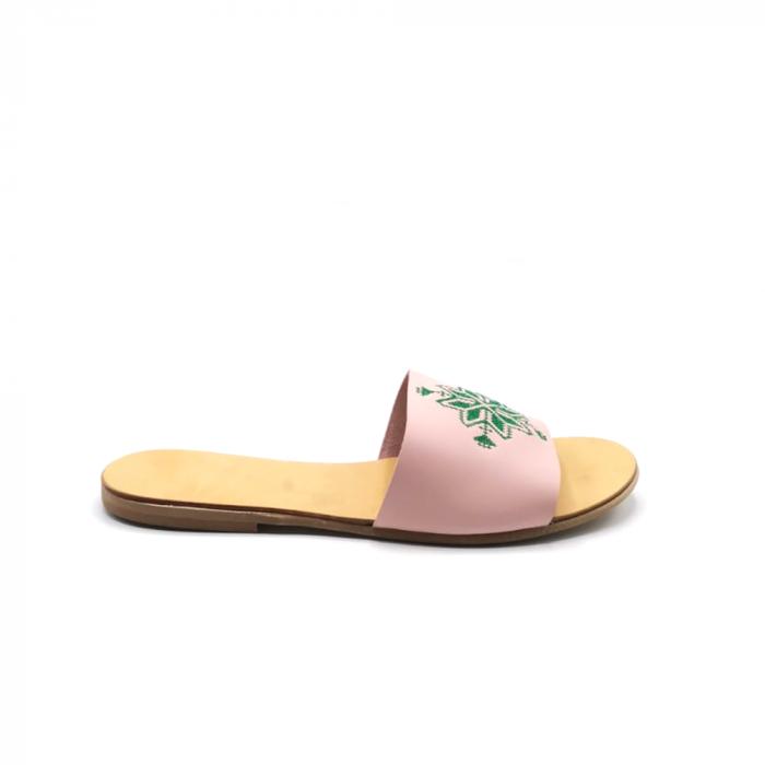 Papuci din piele nude cu broderie traditionala verde [0]
