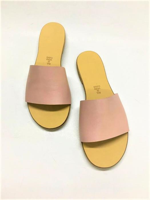 Papuci de dama din piele Elisa Nude 0