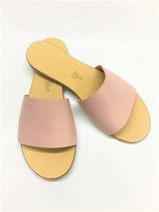 Papuci de dama din piele Elisa Nude 1