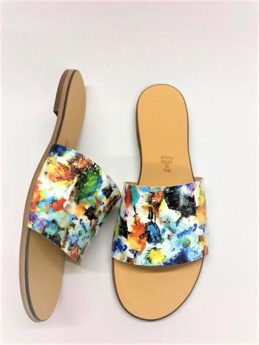 Papuci de dama din piele Elisa Painted Flowers 2