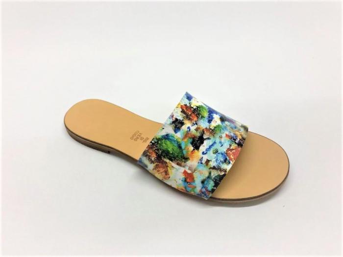 Papuci de dama din piele Elisa Painted Flowers 1