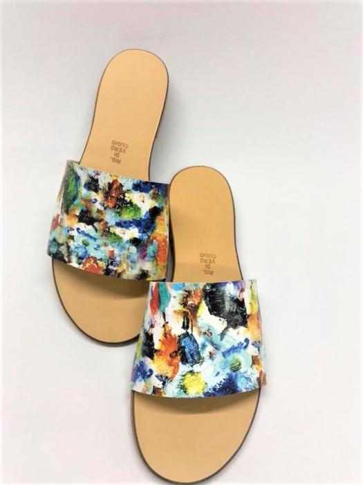 Papuci de dama din piele Elisa Painted Flowers 0