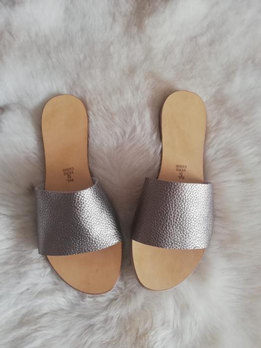 Papuci de dama din piele Elisa Gold 3