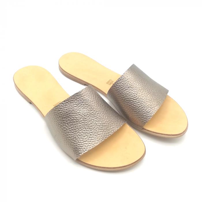 Papuci de dama din piele Elisa Gold 1