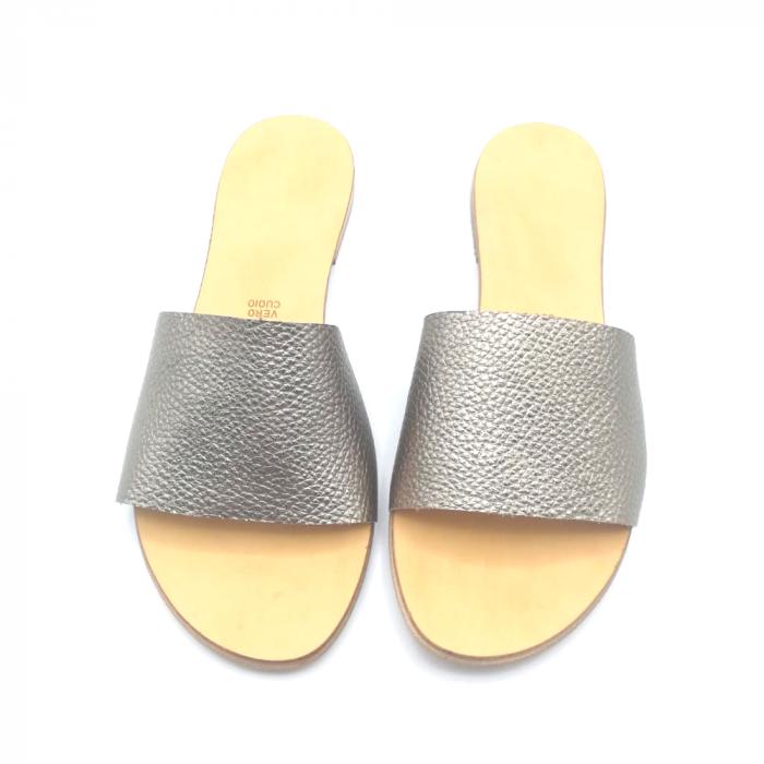 Papuci de dama din piele Elisa Gold 2