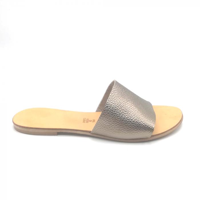 Papuci de dama din piele Elisa Gold 0