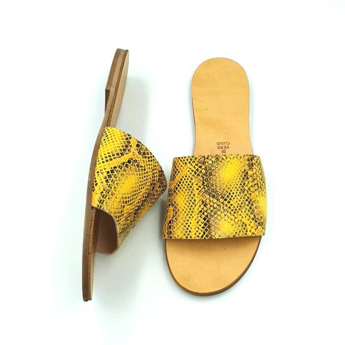 Papuci de dama din piele Elisa Yellow Snake 2