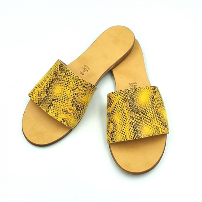 Papuci de dama din piele Elisa Yellow Snake 1