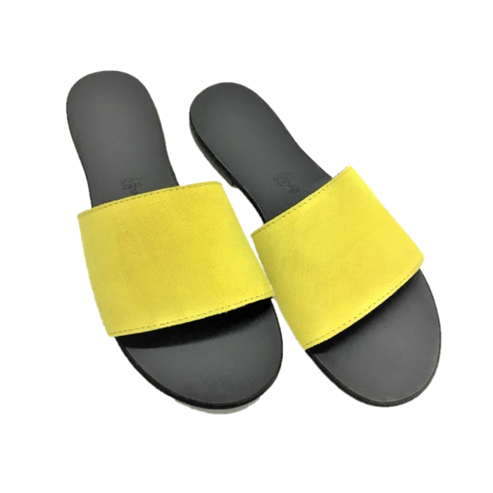 Papuci de dama din piele Elisa Yellow 0