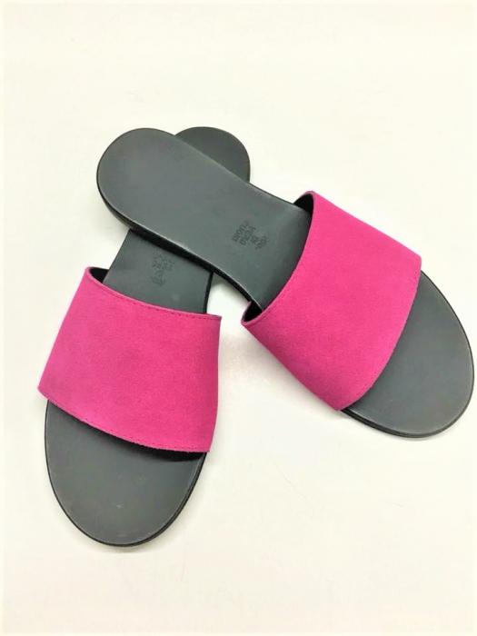 Papuci de dama din piele Elisa Fuchsia 0