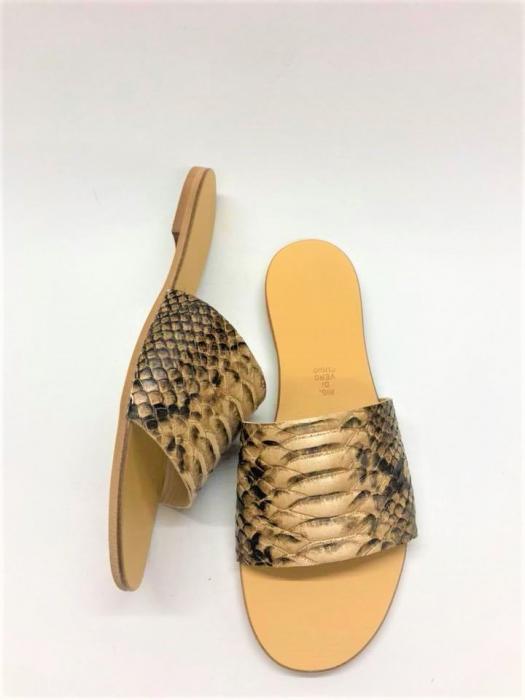 Papuci de dama din piele Elisa Gold Snake 1