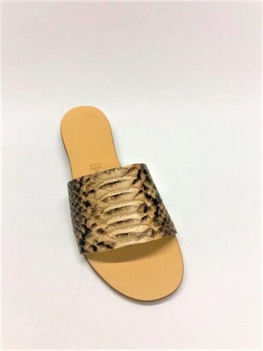 Papuci de dama din piele Elisa Gold Snake