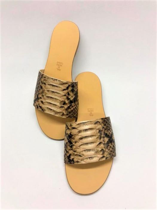 Papuci de dama din piele Elisa Gold Snake 0