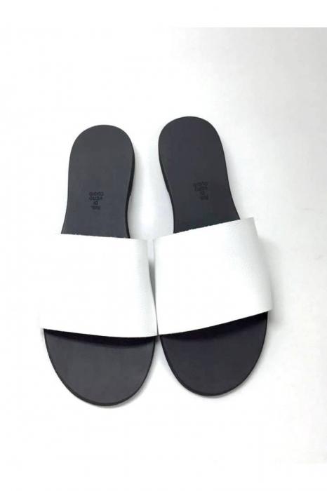 Papuci de dama din piele White Elisa 3
