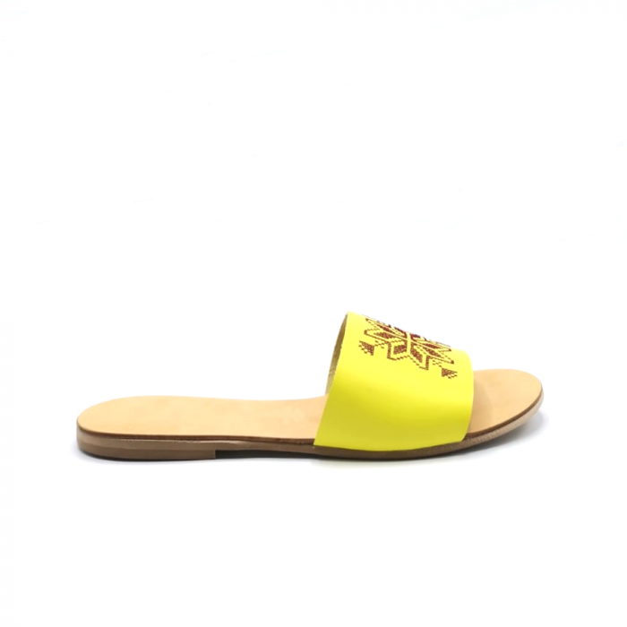Papuci din piele galbeni cu broderie traditionala maro [0]