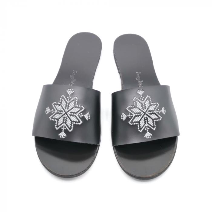 Papuci din piele negri cu broderie traditionala argintie, 36 [1]