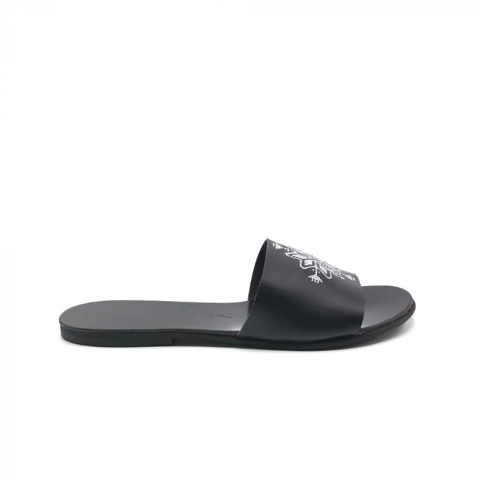 Papuci din piele negri cu broderie traditionala argintie, 36 [0]