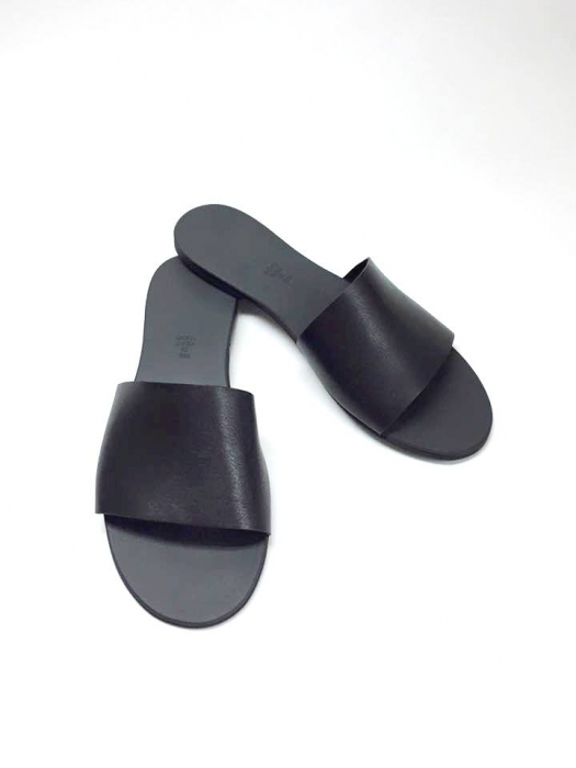 Papuci de dama din piele Black Elisa 0