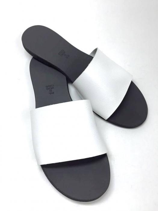 Papuci de dama din piele White Elisa 0