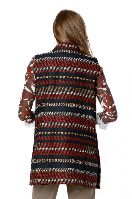 Vesta dama din stofa cu imprimeu multicolor Camila 2