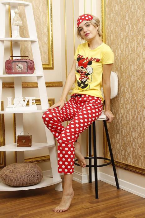 Pijama dama galbena din bumbac Peek a Bow 3