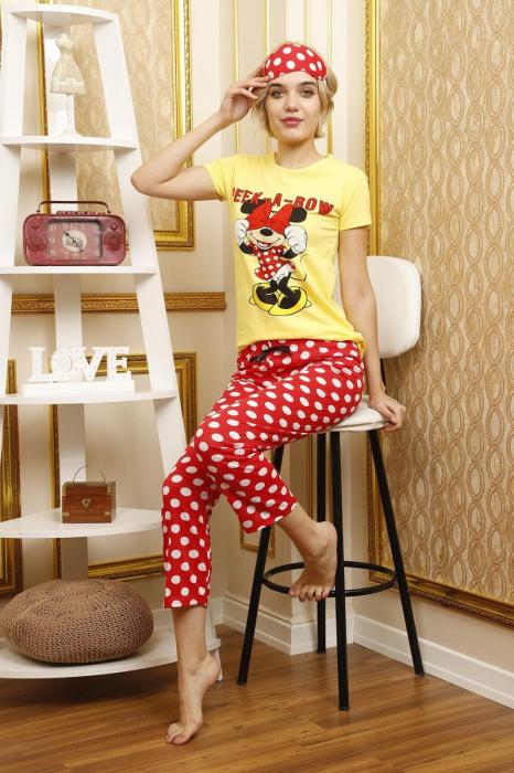 Pijama dama galbena din bumbac Peek a Bow 2
