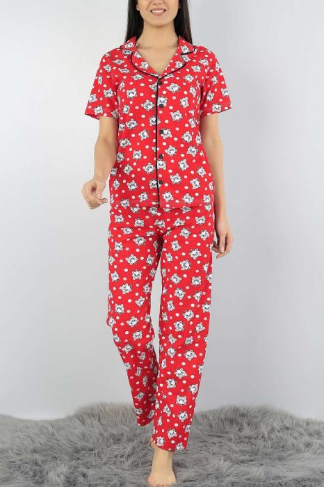 Pijama dama rosie din bumbac cu imprimeu pisicute 0