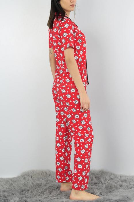 Pijama dama rosie din bumbac cu imprimeu pisicute 1