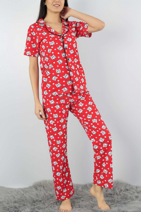 Pijama dama rosie din bumbac cu imprimeu pisicute 2