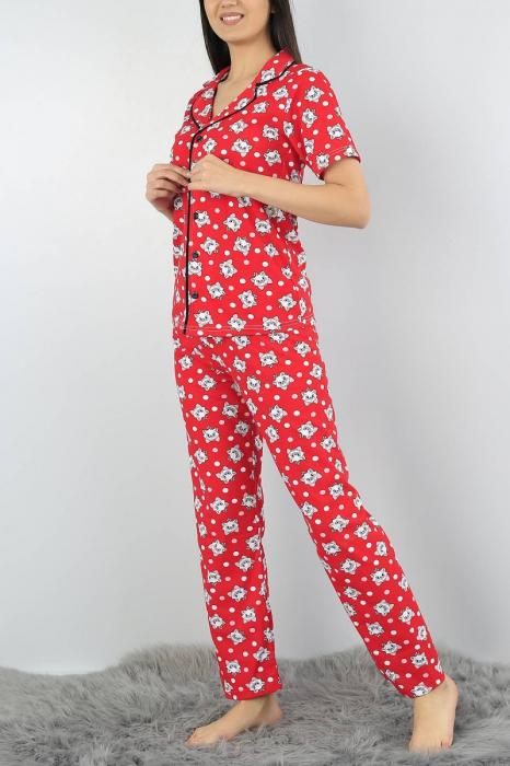 Pijama dama rosie din bumbac cu imprimeu pisicute 3