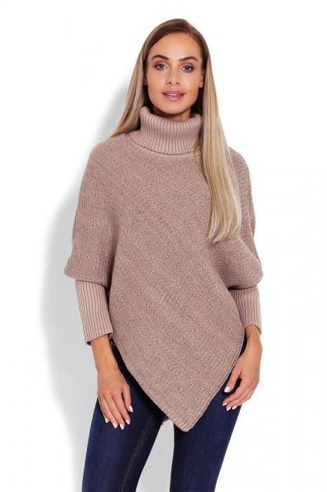 Poncho dama tricotat cu maneci lungi Capuccino 0