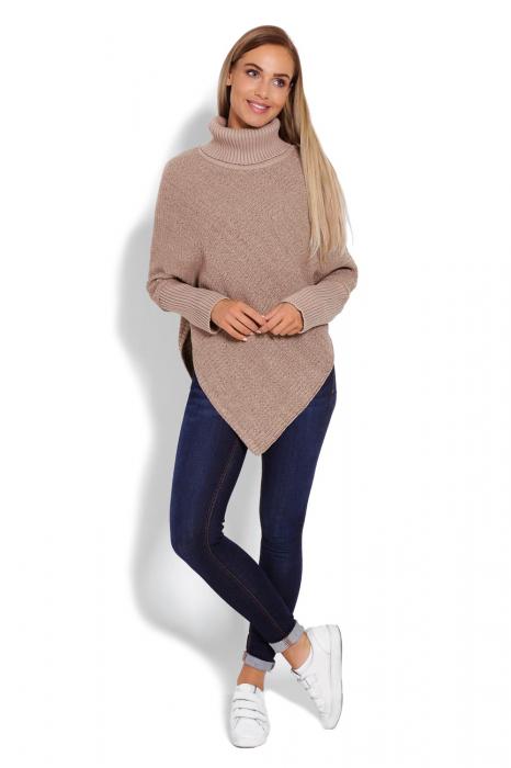 Poncho dama tricotat cu maneci lungi Capuccino 1