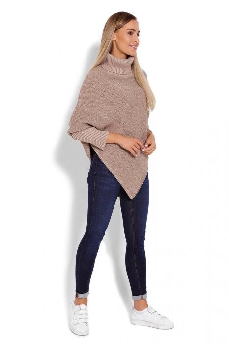 Poncho dama tricotat cu maneci lungi Capuccino 2