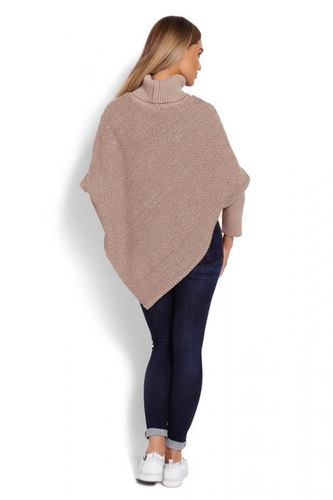 Poncho dama tricotat cu maneci lungi Capuccino 3