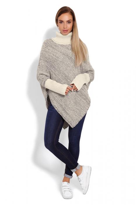 Poncho dama tricotat cu maneci lungi Beige 1