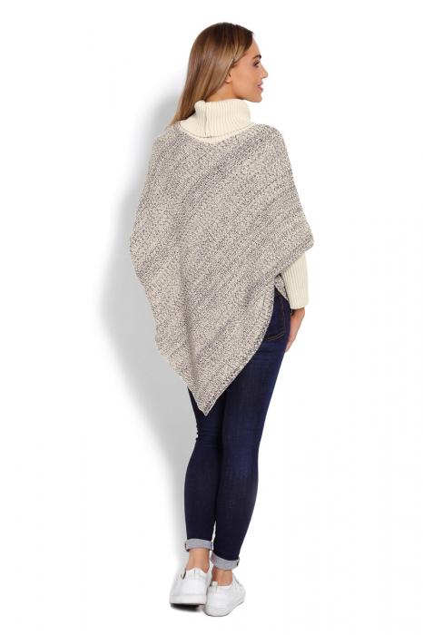 Poncho dama tricotat cu maneci lungi Beige 3