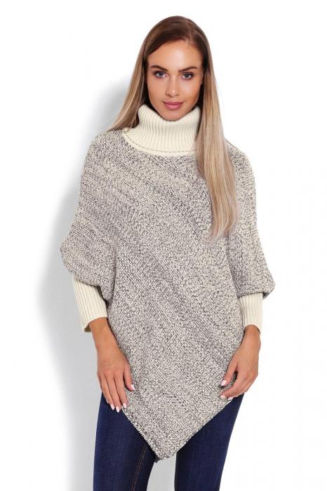 Poncho dama tricotat cu maneci lungi Beige 0