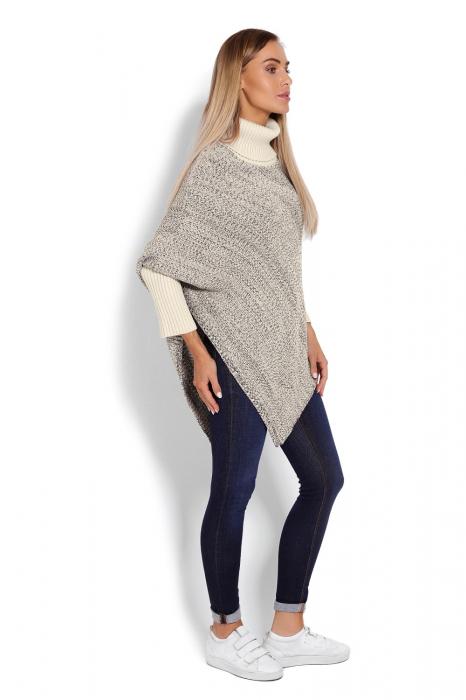 Poncho dama tricotat cu maneci lungi Beige 2