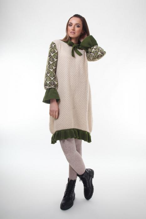 Rochie trapez tricotata Creamy Leaves 1