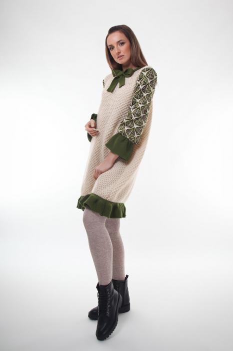 Rochie trapez tricotata Creamy Leaves 2