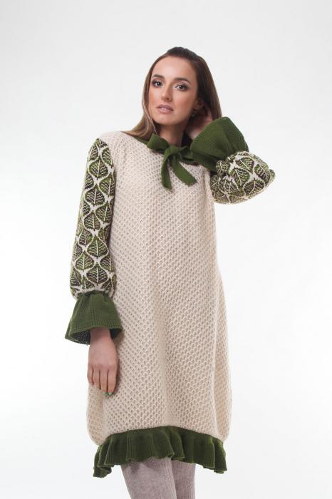 Rochie trapez tricotata Creamy Leaves 0