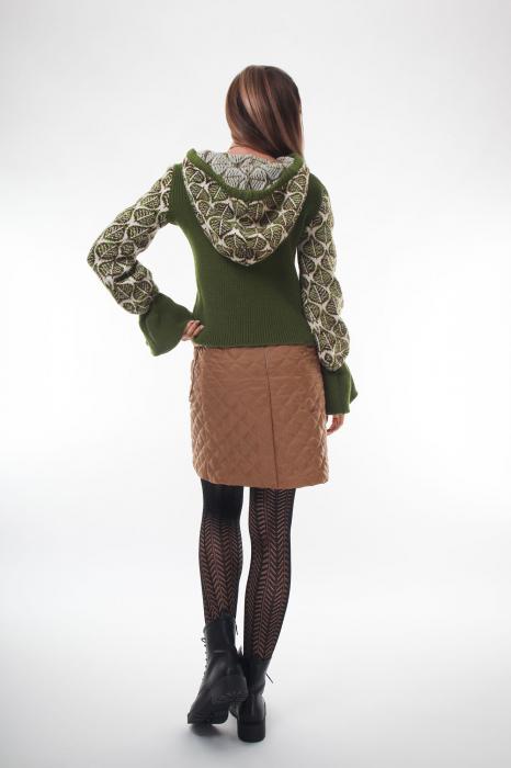 Pulover dama verde tricotat cu gluga 2