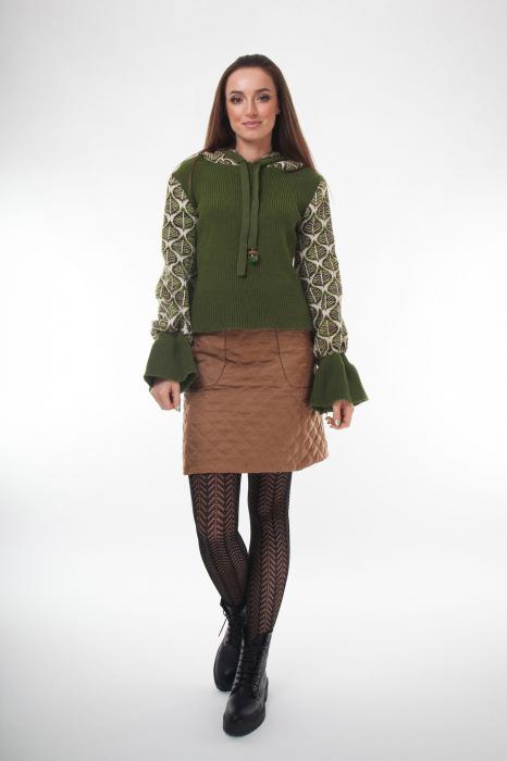 Pulover dama verde tricotat cu gluga 0